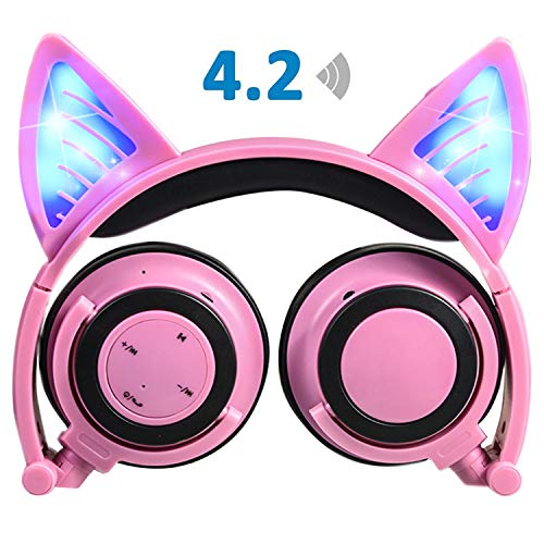 Wireless Headphones with Cat Ear,iGeeKid LED Foldable Over-Ear HD Headset with Microphone,Volume Limiter for Children/Teens/Adults,Compatible with Smartphones PC Tablet (Pink)