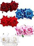 Bememo 5 Pieces Women Rose Flower Hair Clip Wedding Flamenco Dancer Rose Flower Hair Comb Accessories