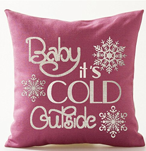 Season's Blessing Warm Sayings Baby It's Cold Outside Snowflake Pink Background Cotton Linen Decorative Throw Pillow Case Cushion Cover Square 18