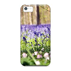 Iphone 5c Hard Back With Bumper Silicone Gel Tpu Case Cover Forest Flowers Nature