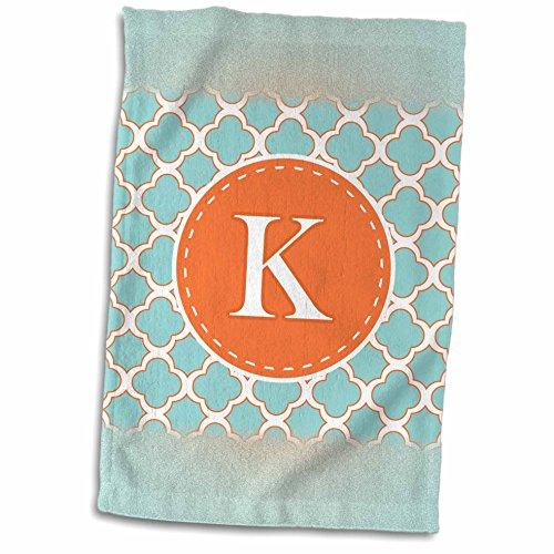 3dRose Janna Salak Designs Monogram Collection - Letter K Monogram Orange and Blue Quatrefoil Pattern - 12x18 Towel (twl_210612_1)