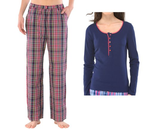 UNCOVER by SCHIESSER, Set: Damen Schlafanzugshose lang + Schlafshirt, dark blue