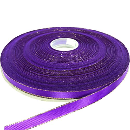 PartyMart 3/8 Inch Satin Ribbon with Golden Edges, 100 yds, Purple