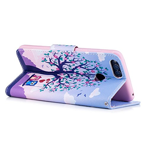 conception PU d'impression cuir avec fente Honor Acacia de protection support tree Flip avec peint Huawei 7X en portefeuille Hozor carte magnétique étui fermeture cas Play pour en aérosol vXw1YO