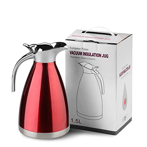 HOMKO Vacuum Insulated Carafe - 51 oz Stainless Steel Thermal Carafe / 8 cup Thermal Coffee Carafe / 15 Hour Heat Retention