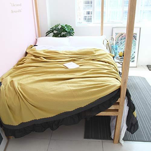 Mabmeiyang 綿のチェック柄のレースのレースソリッドカラーのソファ昼寝 (Color : Ginger Yellow, サイズ : 150cm*200cm) B07SBSG4MR Ginger Yellow 150cm*200cm