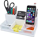 Victor Wood Desk Organizer with Smart Phone Holder, Pure White,W9525