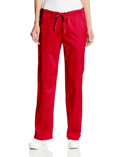 Cherokee Women's Petite Scrubs Luxe Low Rise Drawstring Pant, Red, Small/Petite (Petite Rise Pants Scrub Low)