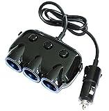 Car Cigarette Lighter Splitter , 3-Socket Dual USB Cigarette Lighter Adapter Multi-functions 120W 3.1A DC 12V/24V for iPhone iPad Samsung GPS Dashcam