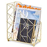 MyGift Modern Geometric Gold-Tone Desktop Magazine Holder Rack