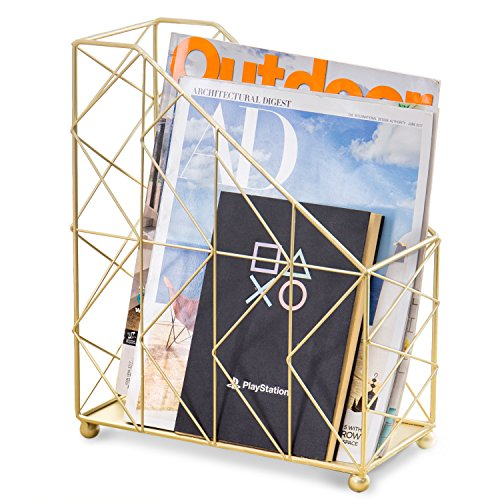 MyGift Modern Geometric Gold-Tone Desktop Magazine Holder Rack by MyGift