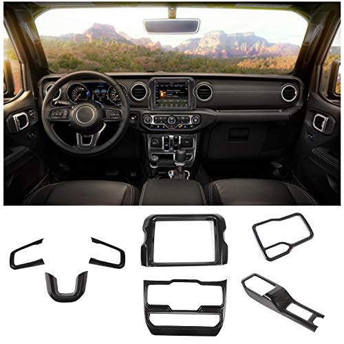 JeCar Interior Decoration Trim Kit, Steering Wheel & Gear Shift Panel Cover for for Jeep Wrangler 2018-2019 JL Unlimited