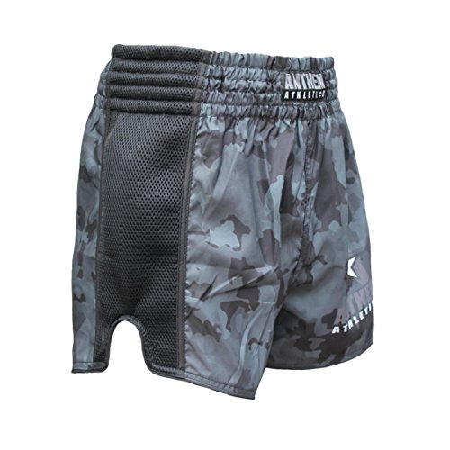 NEW! Anthem Athletics RECKONER Retro Style Muay Thai / Boxing / Kickboxing Shorts - Black Camo - Large