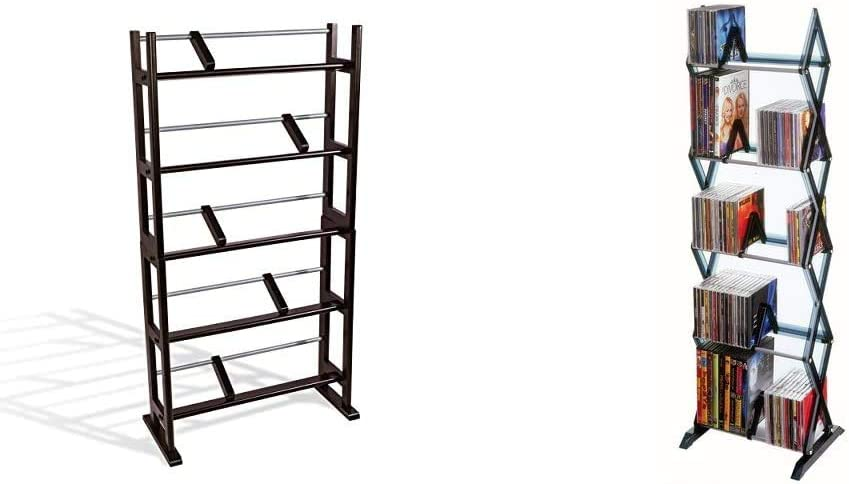 Atlantic Element Media Storage Rack - Holds Up to 230 Cds or 150 DVDs, PN35535601 in Espresso & Mitsu 5-Tier Media Rack - 130 CD or 90 DVD/BluRay/Games in Clear Smoke Finish, PN64835195