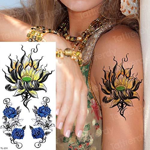 Tatuaje Flores temporales Loto Tatuaje Mandala Pegatinas Azul ...