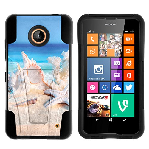 TurtleArmor | Compatible with Nokia Lumia 635 Case [Gel Max] Combo Hybrid Case Hard Shell Kickstand Impact Absorber Layer Beach - Conch Shell (Cute Cases For Nokia Lumia)