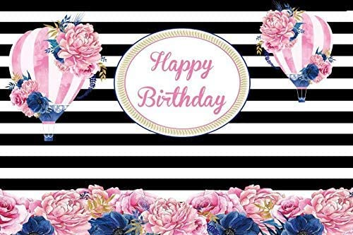 Happy Birthday Backdrop 10x6.5ft Black and White Stripes Polyester Photography Background Pink Flowers Hot Air Balloon Children Girls Woman Party Celebration Decor Banner Photo Props Studio