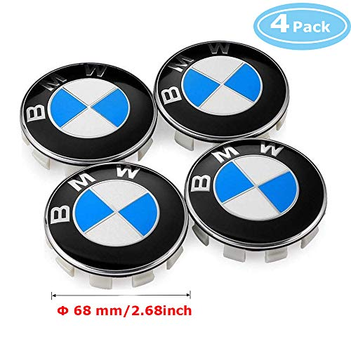 Aswelly BMW 68mm Wheel Center Caps, 4 PCS Blue & White Color Emblem Badge Replacement Hub Caps Fits for BMW 3 5 6 7 series X6 X 5 X3 Z3 Z4