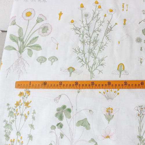"92"" Width Vintage Botanical with Yellow Blossoming Print Cotton Fabric by The Yard - Botanical Print Fabric"