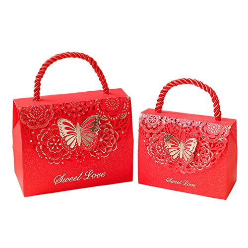 Kxtffeect 20Pcs Laser Cut Flower Wedding Favor Boxes, Favors Butterfly Gift Bags for Party Birthday Baby Shower (Red, -