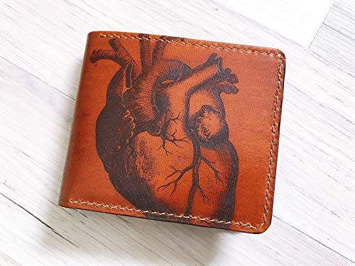 Unik4art  Heart drawing love anniversary genuine leather handmade men wallet unique special Gifts