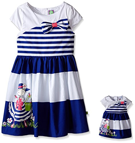 Dollie & Me Big Girls' Stripe Waisted Dress With Screen Printed Detail On Skirt, White/Navy, 4