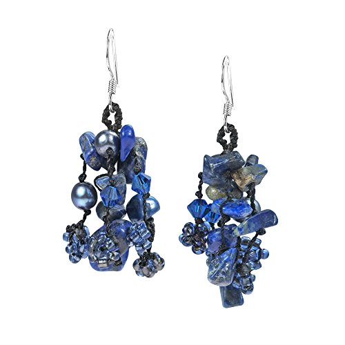 - Royal Melody Simulated Blue Lapis-Lazuli-Cultured Freshwater Pearl .925 Sterling Silver Earrings