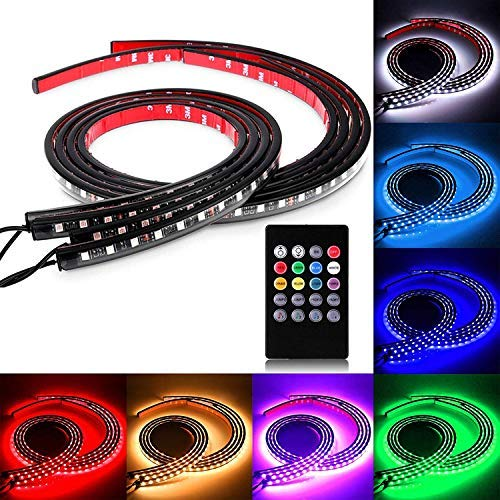 SOCAL-LED 4x Car LED Strip Lights RGB 8 Color LED Underglow Kit Underbody Accent Light, Wireless Remote Control, Sound Activated, 36