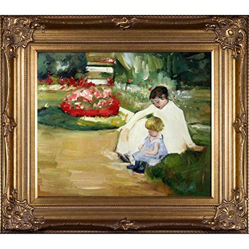 (overstockArt Woman and Child Seated in a Garden Framed Oil Painting by Mary Cassatt)