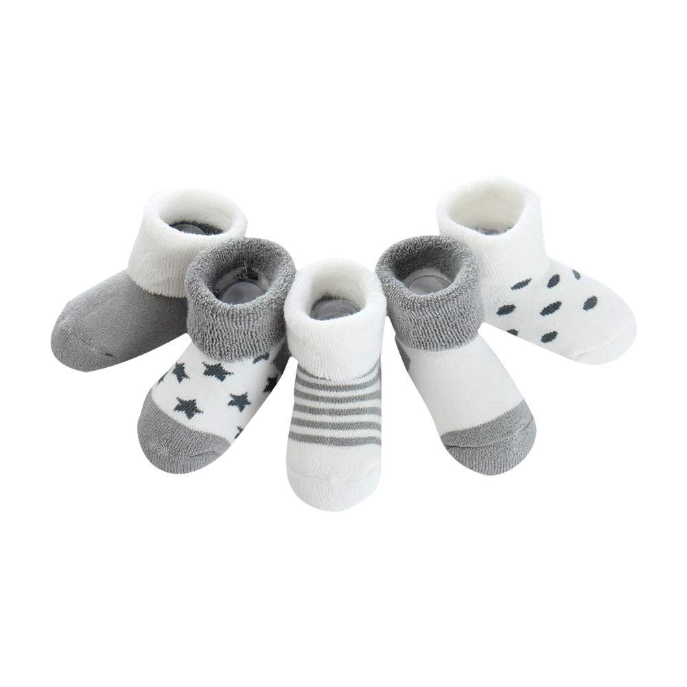 Rosa Stern mxdmai 5 Paar Warme Winter Baby Socken Weiche Neugeborene Dicke Socken Exquisite Baumwollsocken f/ür Herbst und Winter