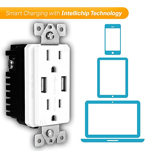 TOPGREENER TU2154A High Speed USB Charger Outlet, USB Wall Charger, Electrical Outlet with USB, 15A TR Receptacle, Screwless Wall Plate, for iPhone X, iPhone 8/8 Plus, Samsung Galaxy and more, White by TOPGREENER (Image #8)