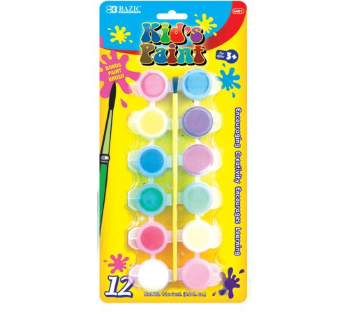 BAZIC 12 Color 6ml Kid's Paint w/ Brush