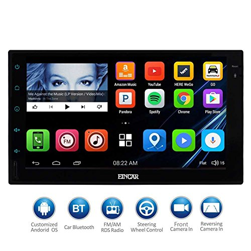 EinCar 7'' HD Touch Screen 2Din Android Car Navigation Radio - Quad Core Car Entertainment Mulitmedia w/FM/AM Radio,WiFi,BT,Mirror Link,and External Mic (No DVD Player)