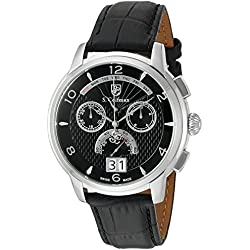 S. Coifman 'Men's' Swiss Quartz Stainless Steel and Leather Watch, Color:Black (Model: SC0176)