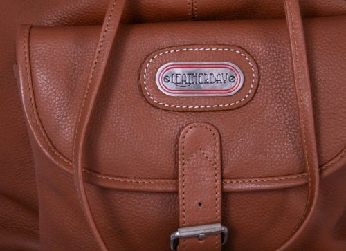 Leatherbay Leather Backpack with Single Pocket,Tan,one size by Leatherbay (Image #2)