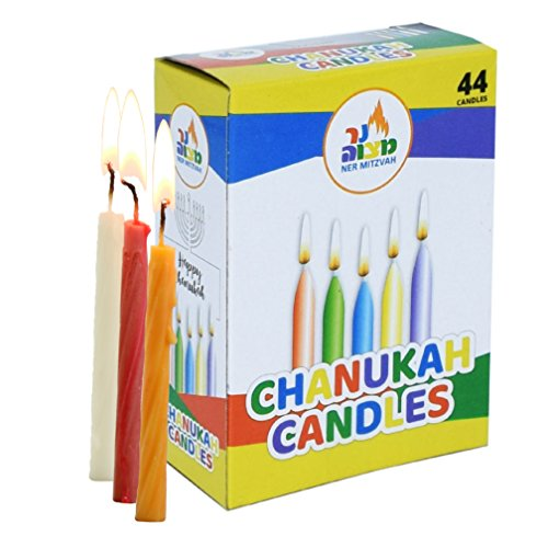 Colorful Chanukah Candles - Standard Size Fits Most Menorahs - Premium Quality Wax - Assorted Colors - 44 Count For All 8 Nights of Hanukkah - by Ner (Family Menorah)