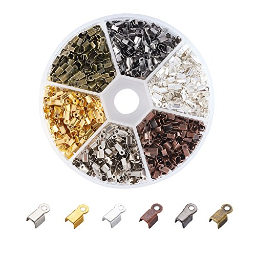 Pandahall 1380pcs/box 6 Color Iron Fold Over Crimp Cord Ends Terminators Clamp End Tips for 3mm Thick Leather Silk Ribbon Jewelry Findings 6x3x2.3mm