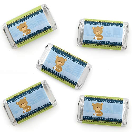 Baby Boy Teddy Bear - Mini Candy Bar Wrapper Stickers - Baby Shower Small Favors - 40 Count ()