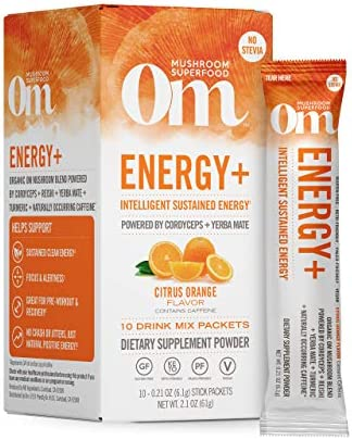 Om Mushroom Superfood Drink Mix, Energy Plus, Citrus Orange, 2.1 Ounce 10 Packets , Cordyceps Yerba Mate, Immune Support Supplement