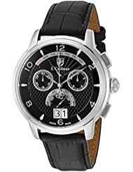 S. Coifman Mens Swiss Quartz Stainless Steel and Leather Watch, Color:Black (Model: SC0176)