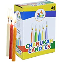 Colorful Chanukah Candles - Standard Size Fits Most Menorahs - Premium Quality Wax - Assorted Colors - 44 Count For All 8 Nights of Hanukkah - by Ner Mitzvah
