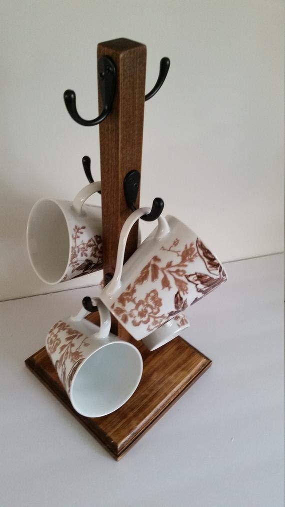 Rustic Mug Stand//Coffee mug tree 4 Hook Farmhouse Coffee Bar White Handmade