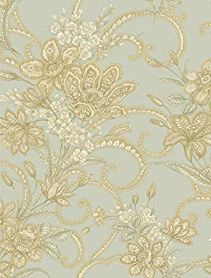 Chesapeake AL13745 Wren Jacobean Floral Mosaic Wallpaper, Blue