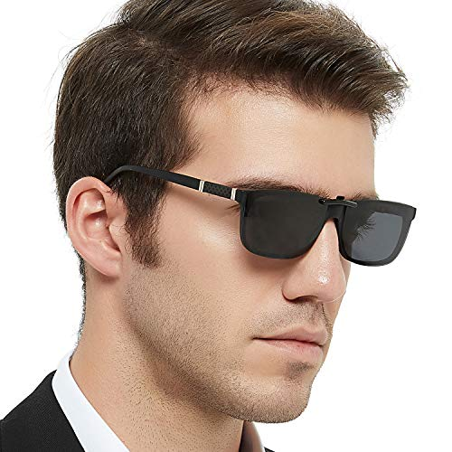 - OCCI CHIARI Men Fashion Rectangle Stylish Eyewear Frame With Non-Prescription Clear Lens (A -clip on sunglasses)