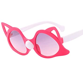 354ddc861e Amazon.com  Jinjin Children Fashion Eyewear,Cute cartoon cat glasses  personality sunglasses (Hot Pink)  Beauty