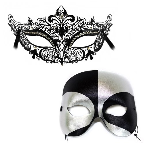 Success Creations Simone-Black Silver Masquerade Laser Cut Classic Masquerade Masks for a Couple by Success Creations