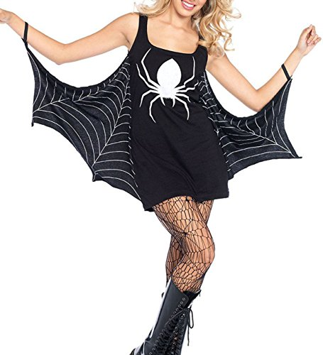 Women's Jersey Dress Spiderweb Halloween Cosplay Costume Plus Size Black (L (US 12-14), Black1)