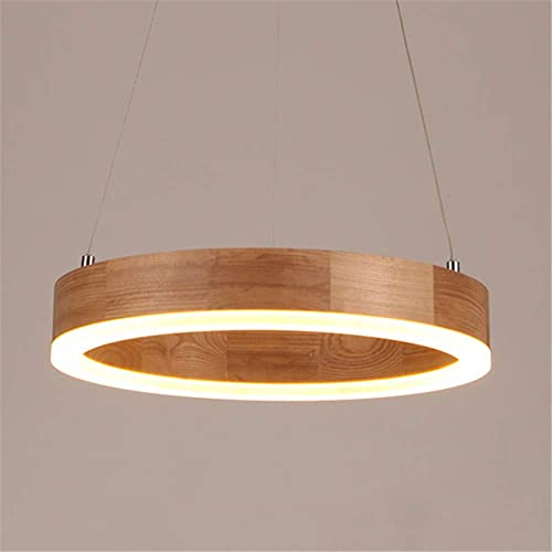 BAYCHEER Modern Wood LED Pendant Light 1light Natural Decoration Creative Chandelier Light Indoor Pendant Lighting for Kitchen Island, Bedroom, Living Room, Warm Light