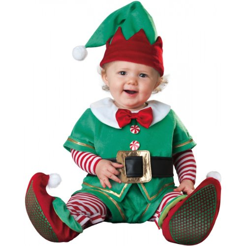 InCharacter Costumes Baby's Santa's Lil' Elf Costume, Green/Red, Medium (12 to 18 Months)]()