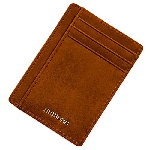 - HUIHONG RFID Blocking Credit Card Holder Slim Leather Wallet Credit Card Case Sleeve Card Holder With ID Window (Crazy Horse Reddish Brown)